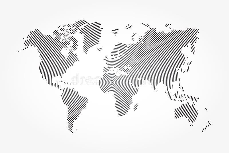 Wereldkaart en whorl lijn vector illustratie