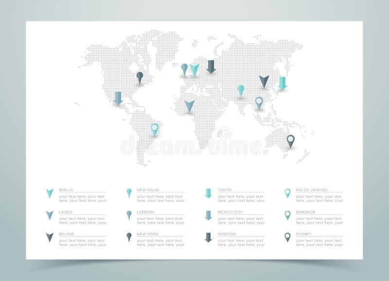 Wereldkaart Gestippelde Vector met Tellers royalty-vrije illustratie