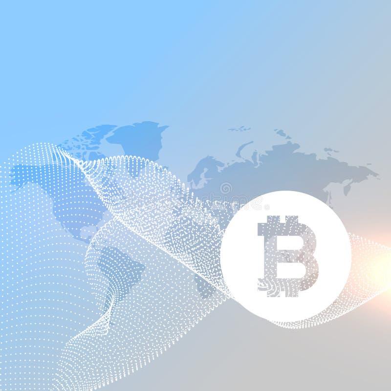 Wereldkaart met bitcoinssymbool stock illustratie