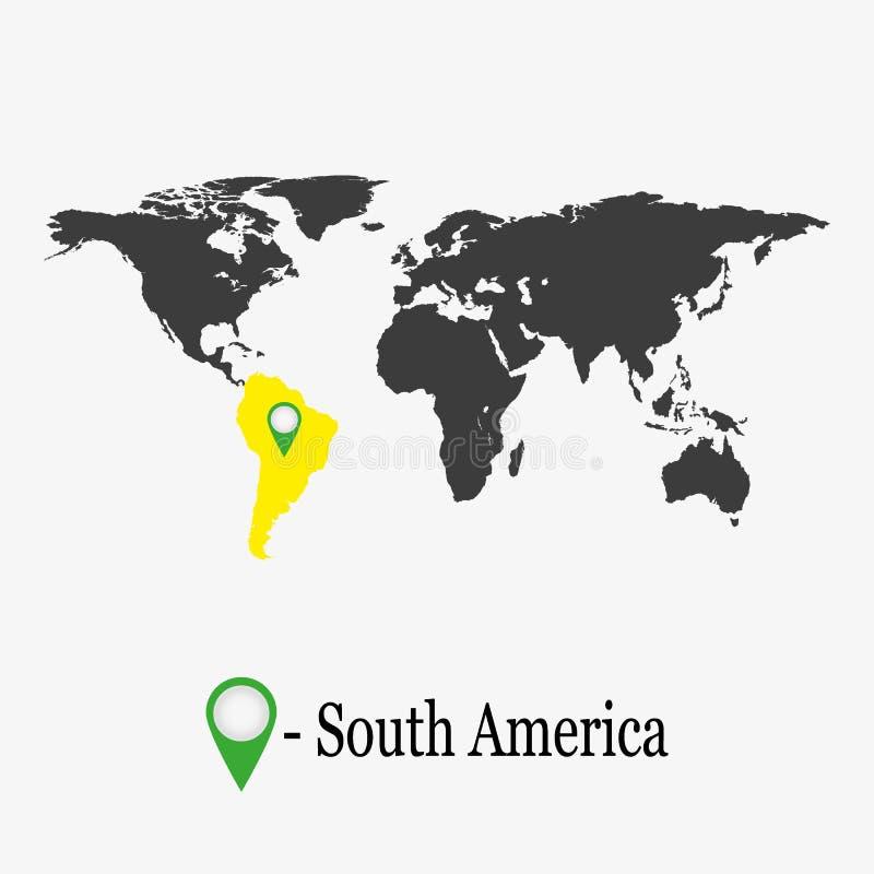 Wereldkaart met continent Zuid-Amerika vector illustratie