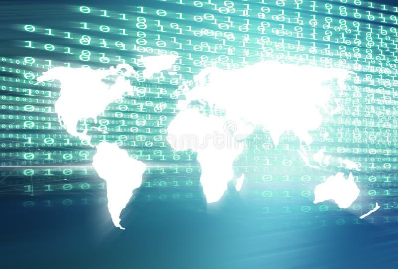 Wereldkaart met de digitale achtergrond van het binaire codes blauwe thema royalty-vrije illustratie