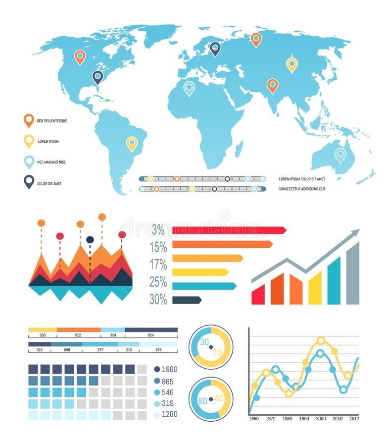 Wereldkaart met de Informatie van de Diagrammenvisualisatie royalty-vrije illustratie