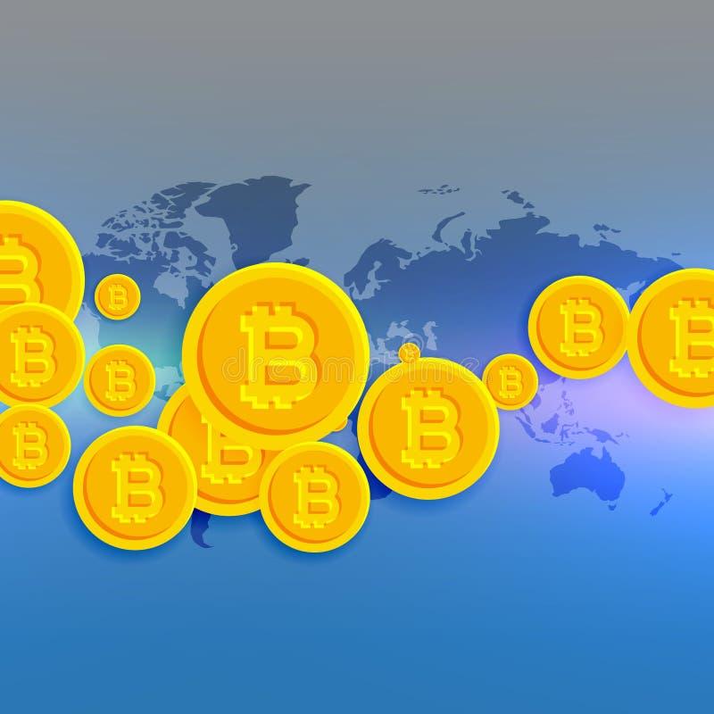 Wereldkaart met drijvende bitcoins symbolen vector illustratie
