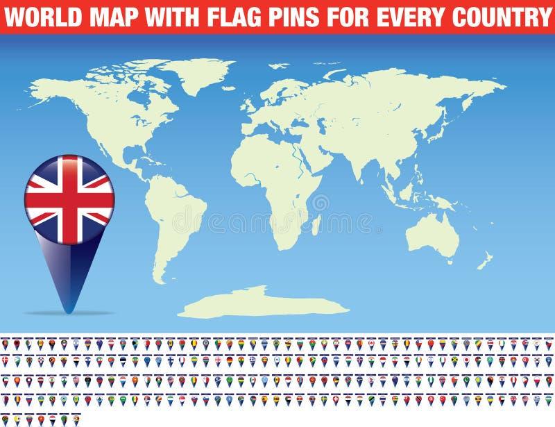 Wereldkaart met een vlagspeld voor elk land royalty-vrije illustratie