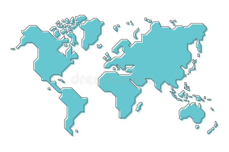 Wereldkaart met eenvoudig modern de kunstontwerp van de beeldverhaallijn stock illustratie