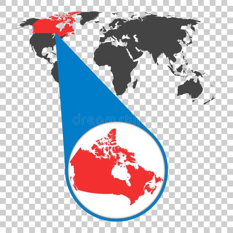 Wereldkaart met gezoem op Canada Kaart in loupe Vector illustratie stock illustratie