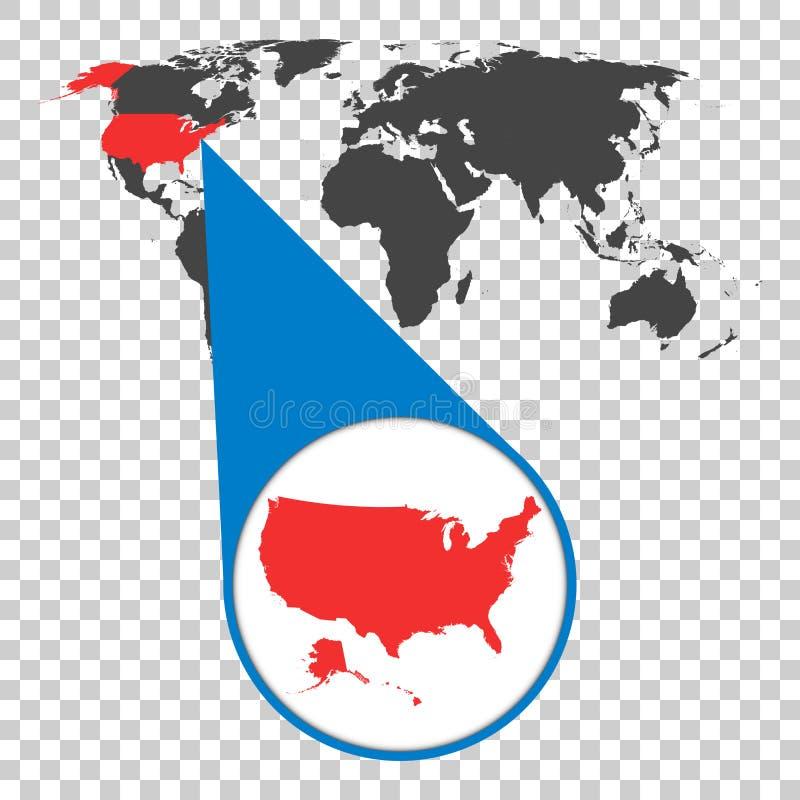 Wereldkaart met gezoem op de V.S. De kaart van Amerika in loupe Vector illustr stock illustratie