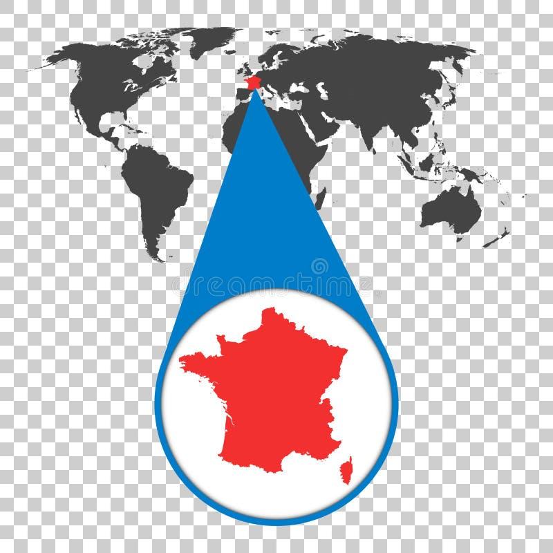 Wereldkaart met gezoem op Frankrijk Kaart in loupe Vector illustratie royalty-vrije illustratie