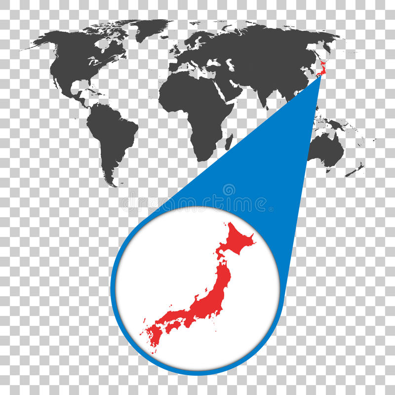 Wereldkaart met gezoem op Japan Kaart in loupe Vector illustratie stock illustratie