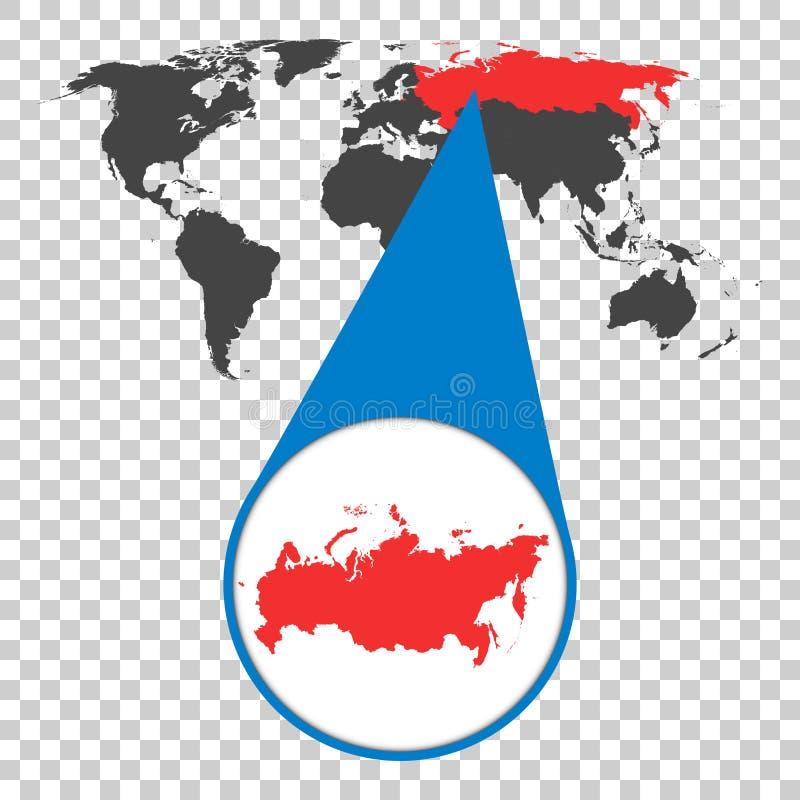 Wereldkaart met gezoem op Rusland Russische Federatiekaart in loupe vector illustratie