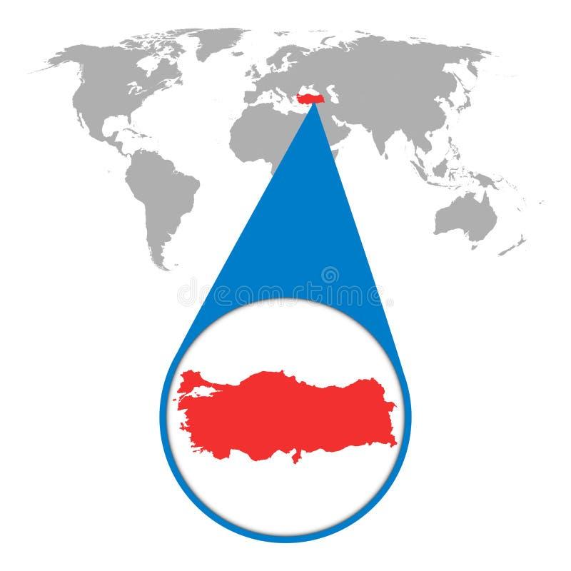 Wereldkaart met gezoem op Turkije stock illustratie
