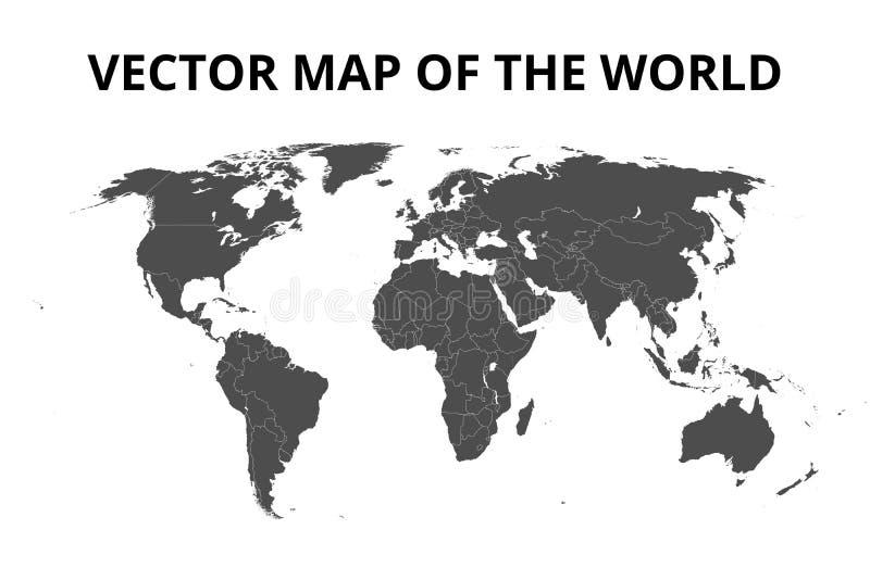 Wereldkaart met grenzen Vector illustratie royalty-vrije illustratie