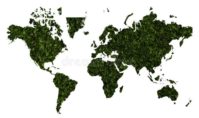 Wereldkaart met groene grastextuur vector illustratie