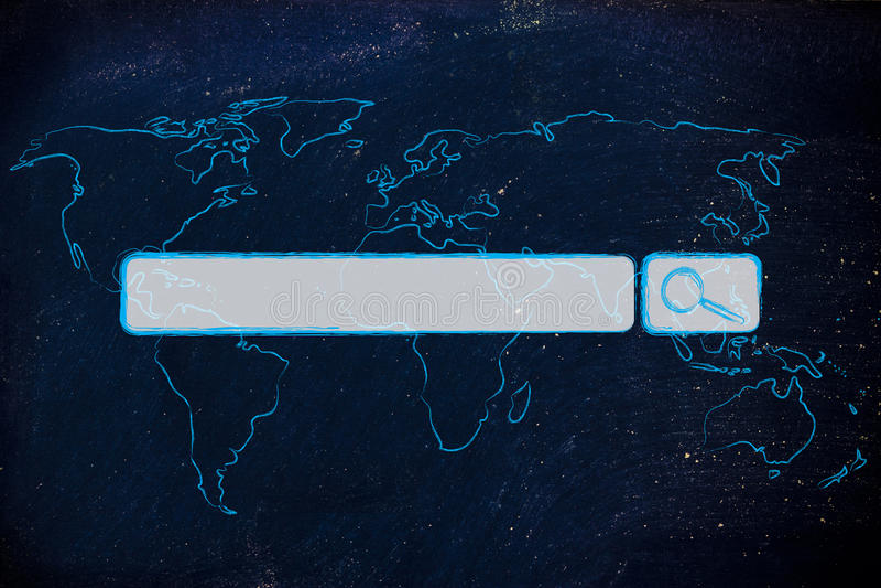 Wereldkaart met Internet-onderzoeksbar royalty-vrije stock afbeeldingen