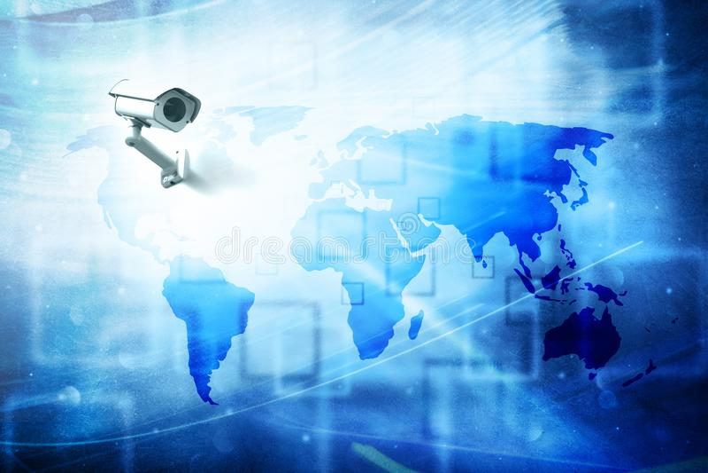 Wereldkaart met kabeltelevisie-cameraachtergrond stock foto
