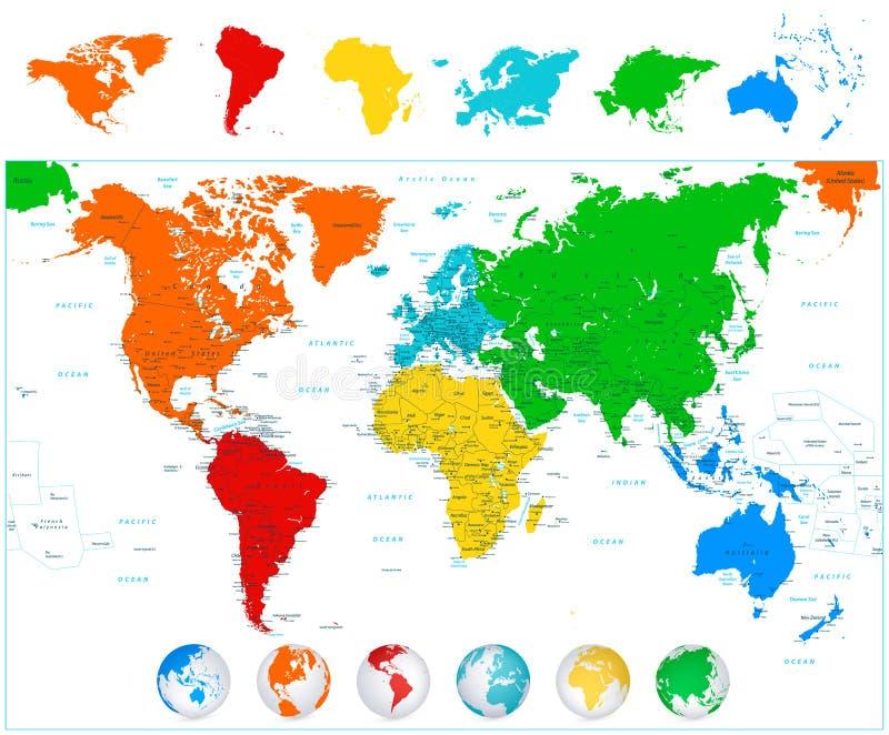 Wereldkaart met kleurrijke continenten en 3D bollen stock illustratie