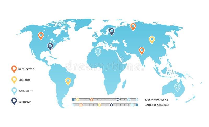 Wereldkaart met Plaatswijzers en Schaalgrafiek vector illustratie