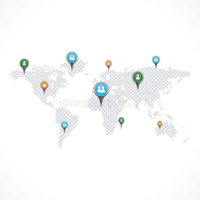 Wereldkaart met Spelden vector illustratie