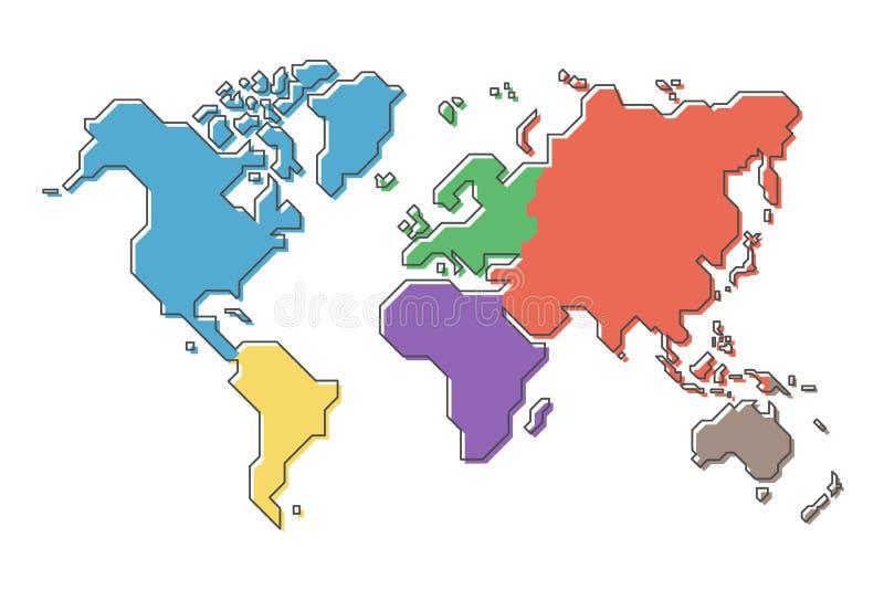 Wereldkaart met veelkleurig continent en het moderne eenvoudige ontwerp van de beeldverhaallijn vector illustratie