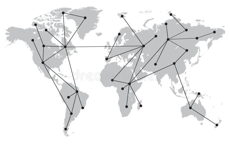 Wereldkaart met Verbindingen, Punten en Lijnen Grijs en zwart vector illustratie