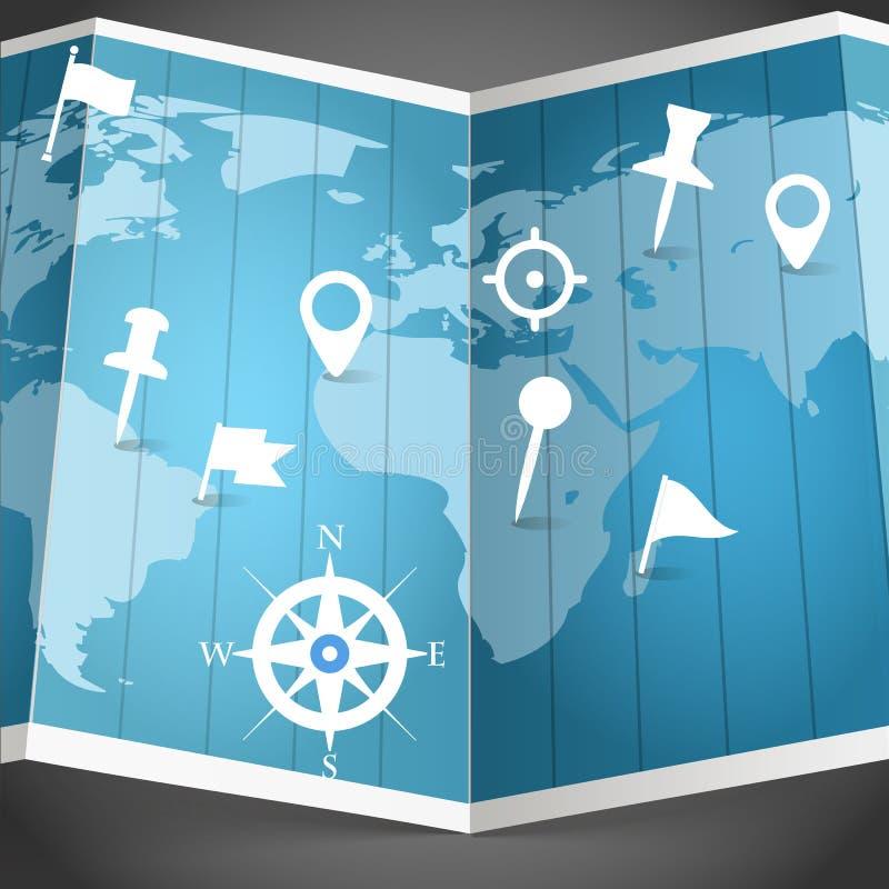 Wereldkaart met verschillende spelden royalty-vrije illustratie