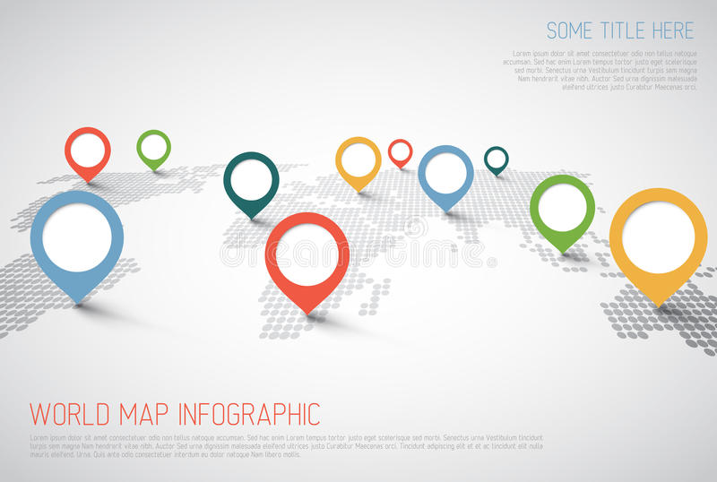 Wereldkaart met wijzertekens stock illustratie