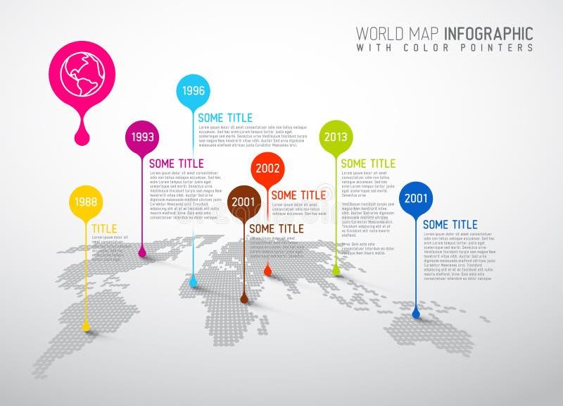 Wereldkaart met wijzertekens vector illustratie