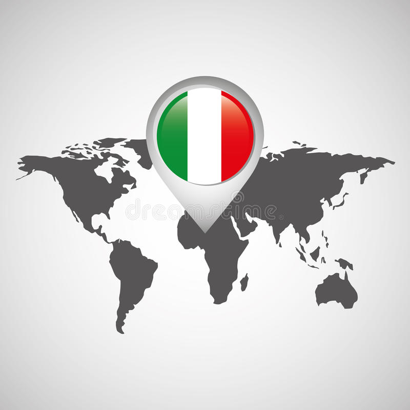 Wereldkaart met wijzervlag Italië stock illustratie