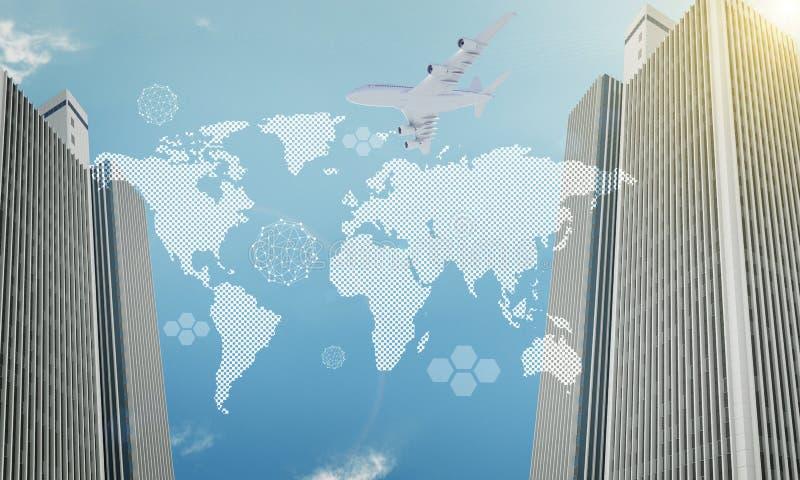Wereldkaart met wolkenkrabbers stock illustratie