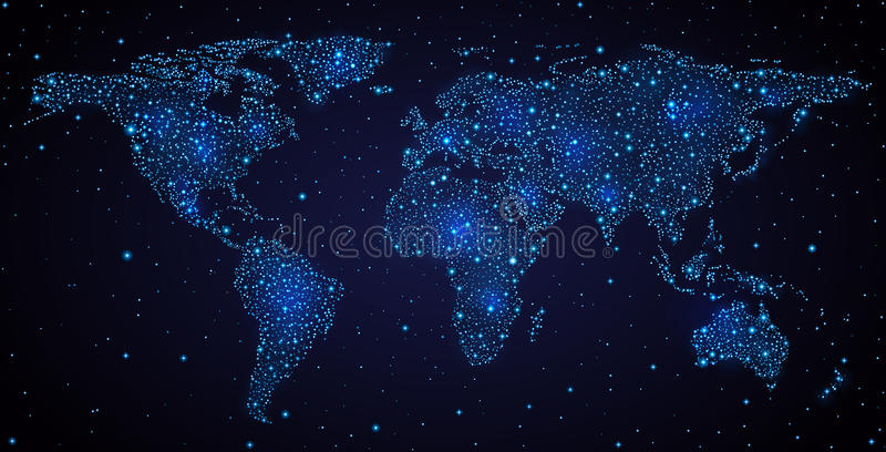 Wereldkaart in nachthemel royalty-vrije illustratie