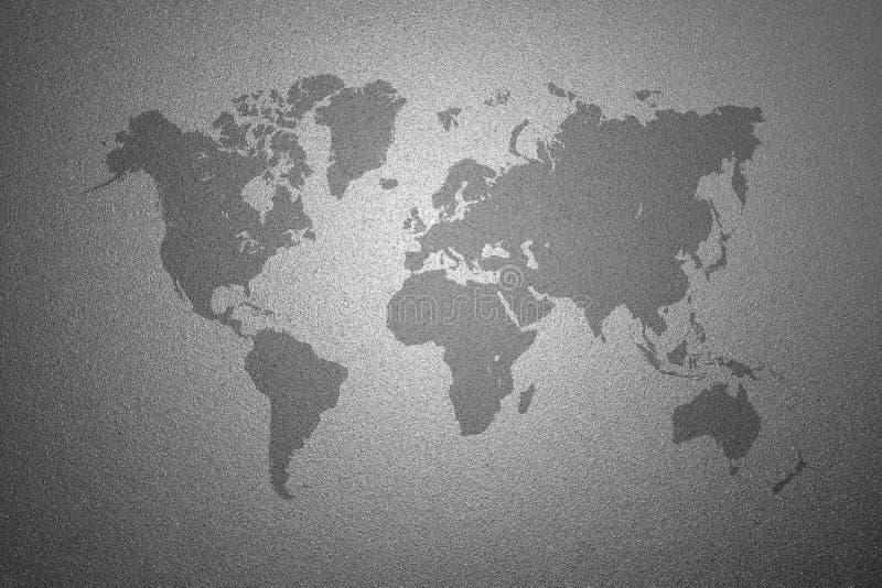 Wereldkaart op berijpte glastextuur als achtergrond stock illustratie