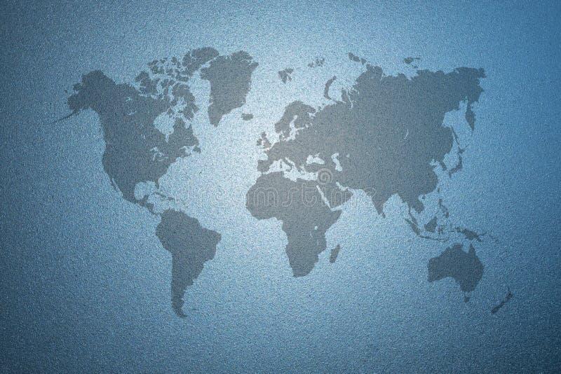 Wereldkaart op berijpte glastextuur als achtergrond vector illustratie