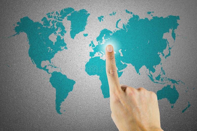 Wereldkaart op berijpte glastextuur als achtergrond royalty-vrije stock afbeeldingen