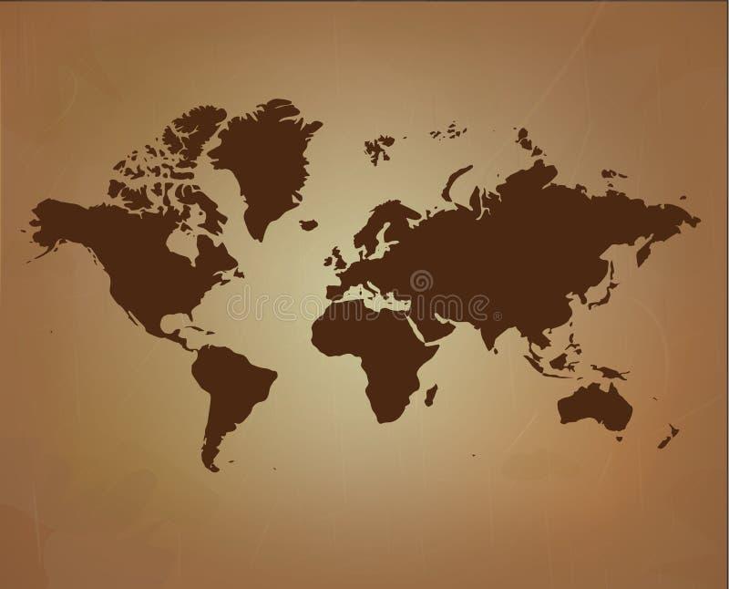 Wereldkaart op oude document textuur vector illustratie
