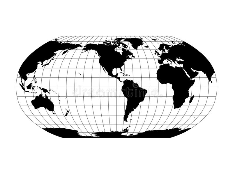 Wereldkaart in Robinson Projection met meridianen en parallellennet Amerika centreerden Zwart land met zwart overzicht stock illustratie