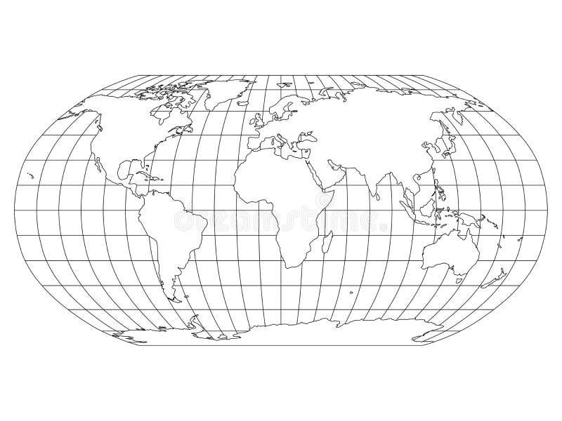 Wereldkaart in Robinson Projection met meridianen en parallellennet Wit land met zwart overzicht Vector illustratie stock illustratie