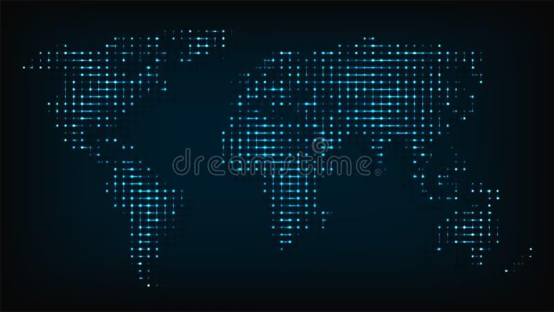 Wereldkaart van de abstracte vectorillustratie van nachtlichten royalty-vrije illustratie