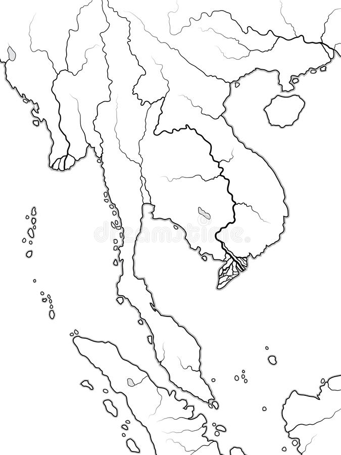 Wereldkaart van INDOCHINA: Schiereiland tussen Indië en China, Thailand, Vietnam, Laos, Maleisië, Cambodja Geografische grafiek vector illustratie