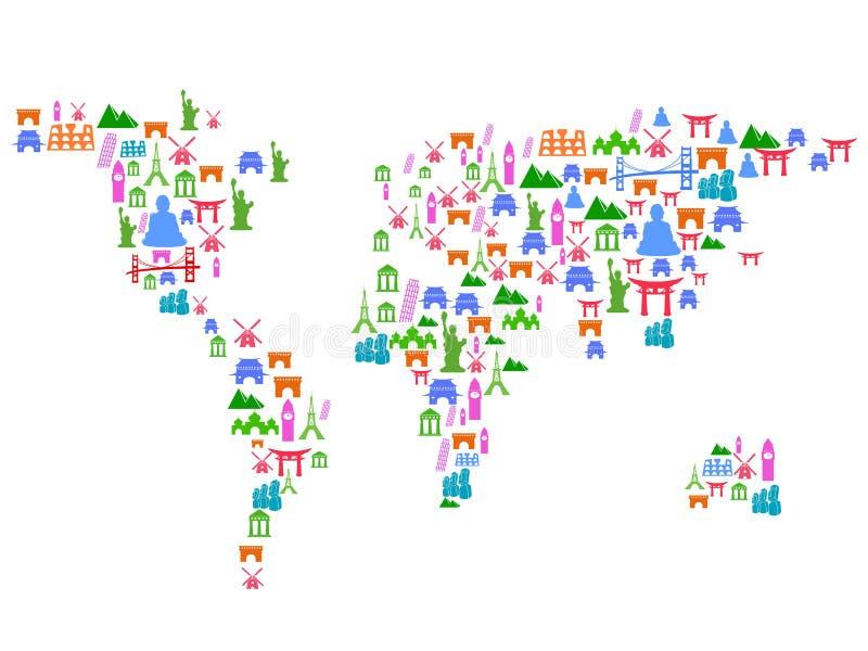 Wereldkaart van oriëntatiepuntpictogrammen dat wordt gemaakt vector illustratie
