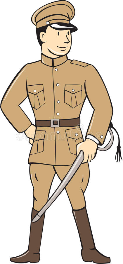 Wereldoorlog Één Britse Ambtenaar Standing Cartoon royalty-vrije illustratie