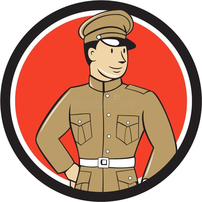 Wereldoorlog Één Britse Ambtenaar Standing Circle Cartoon royalty-vrije illustratie