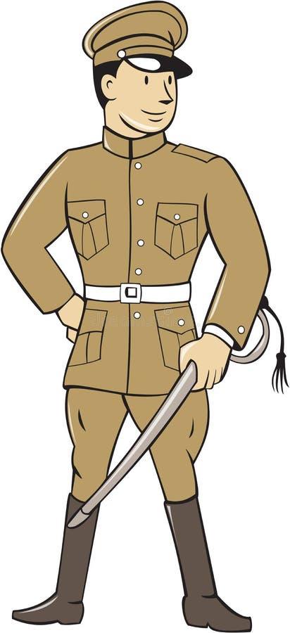 Wereldoorlog Één Britse Ambtenaar Sword Standing Cartoon royalty-vrije illustratie