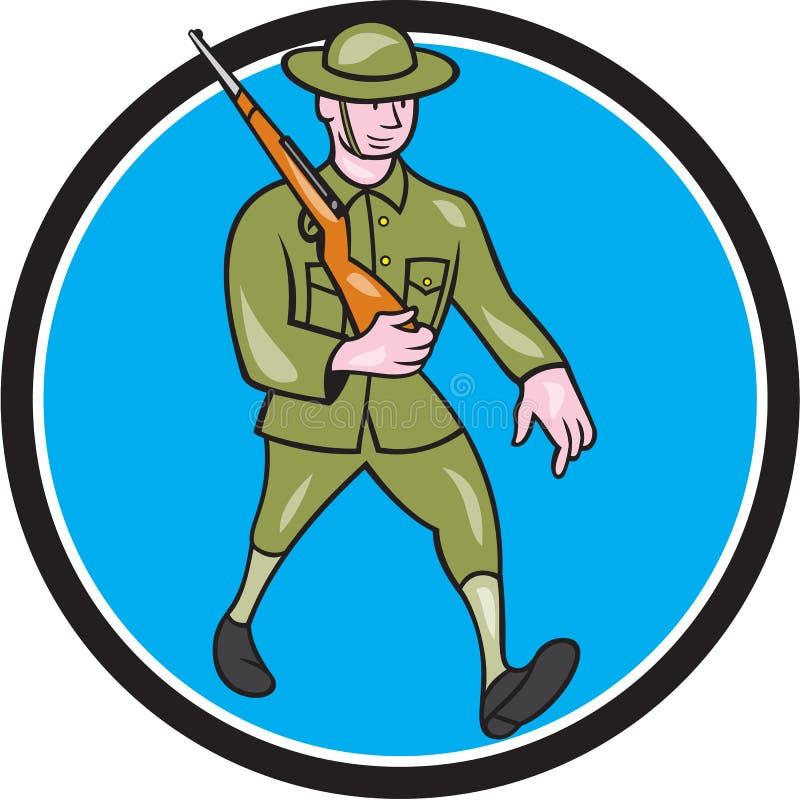 Wereldoorlog Één het Beeldverhaal van Militairbritish marching circle stock illustratie