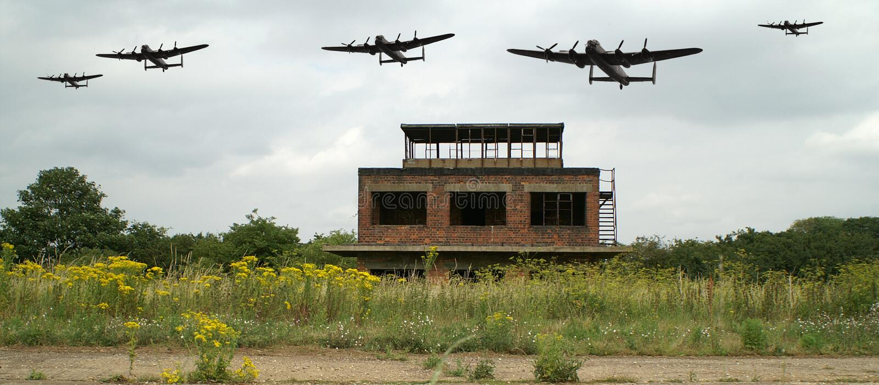 Wereldoorlog 2 de bommenwerpersvliegveld van Lancaster royalty-vrije stock foto's