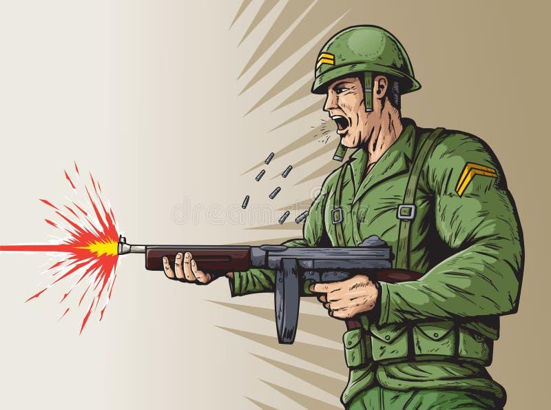 Wereldoorlog 2 militair stock illustratie