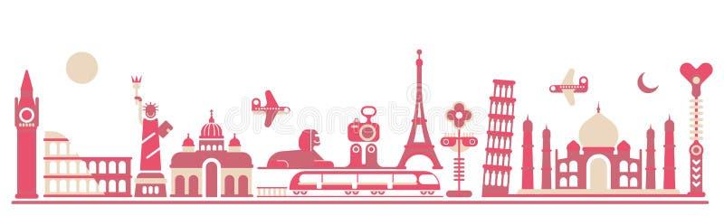 Wereldoriëntatiepunten - vectorillustratie royalty-vrije illustratie