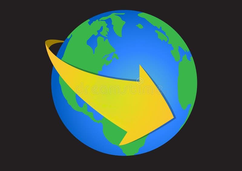 Wereldpijl stock illustratie