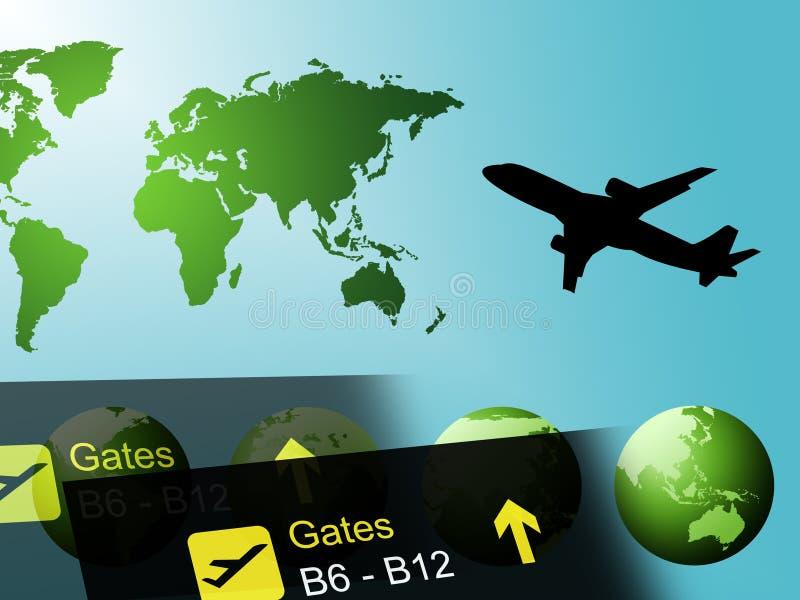 Wereldreis die op Vluchten globaal en Reizen wijzen royalty-vrije illustratie