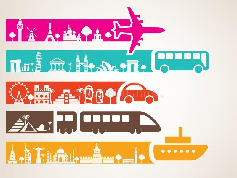 Wereldreis door verschillende soorten vervoer royalty-vrije illustratie