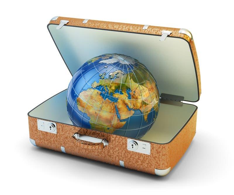 Wereldreis, reis, vakantie en toerismeconcept wereldwijd vector illustratie